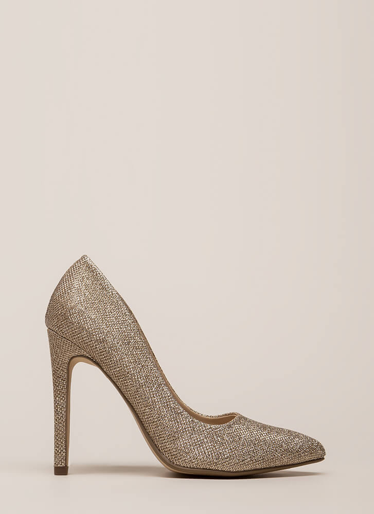 Starting Point Glittery Metallic Pumps ROSEGOLD