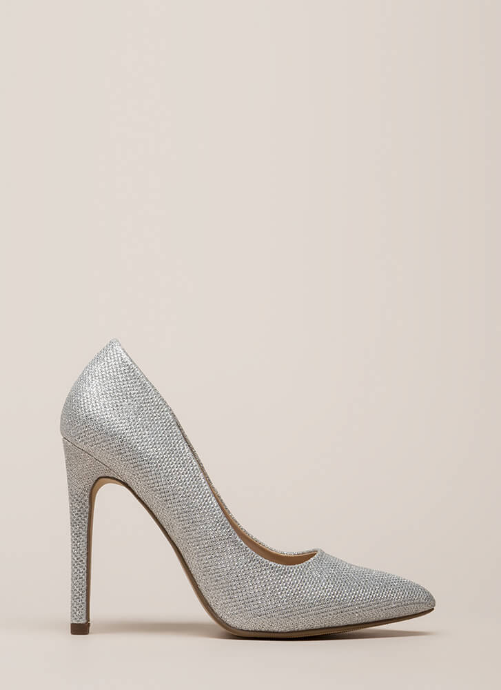 Starting Point Glittery Metallic Pumps SILVER
