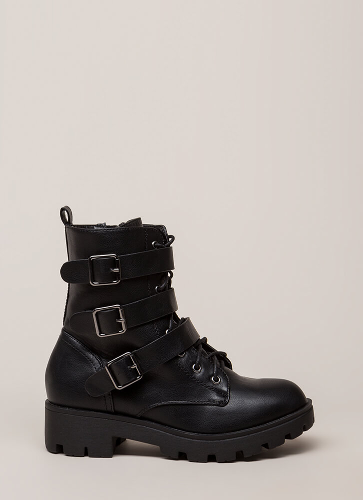 Count To Three Moto Combat Boots BLACK