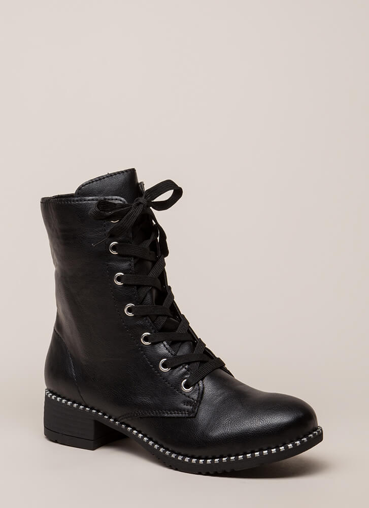 Keeping Trim Faux Leather Combat Boots BLACK (You Saved $21)