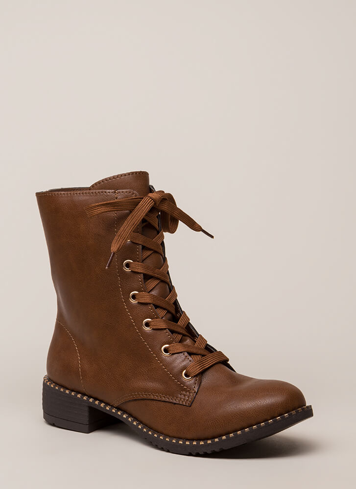 Keeping Trim Faux Leather Combat Boots CHESTNUT