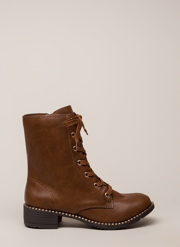 Keeping Trim Faux Leather Combat Boots CHESTNUT (You Saved $21)
