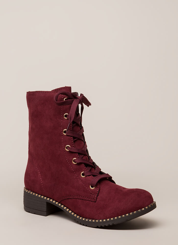 Keeping Trim Faux Suede Combat Boots BURGUNDY
