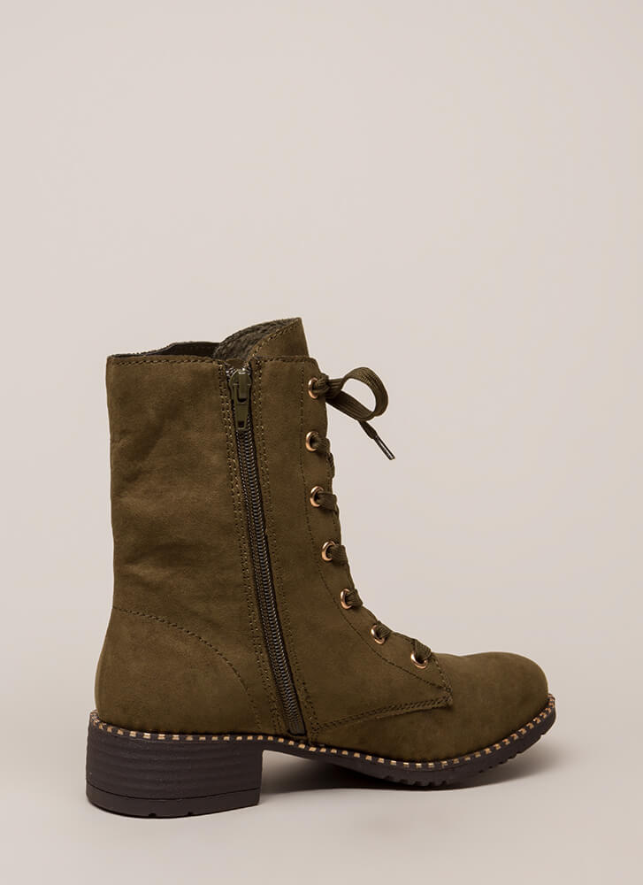 Keeping Trim Faux Suede Combat Boots OLIVE