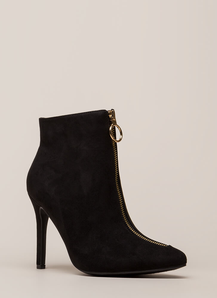 Zip Your Lip Pointy Faux Suede Booties BLACK