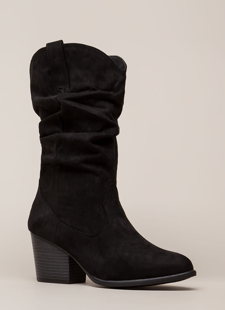 Lasso Slouchy Block Heel Cowgirl Boots BLACK
