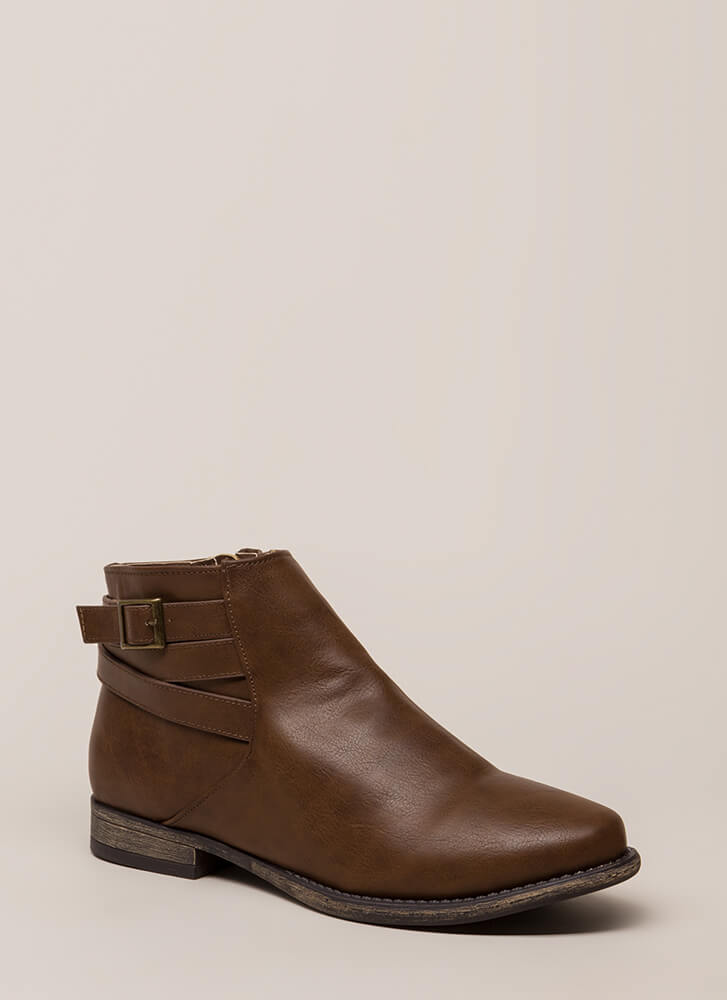 Primetime Strappy Faux Leather Booties BROWN
