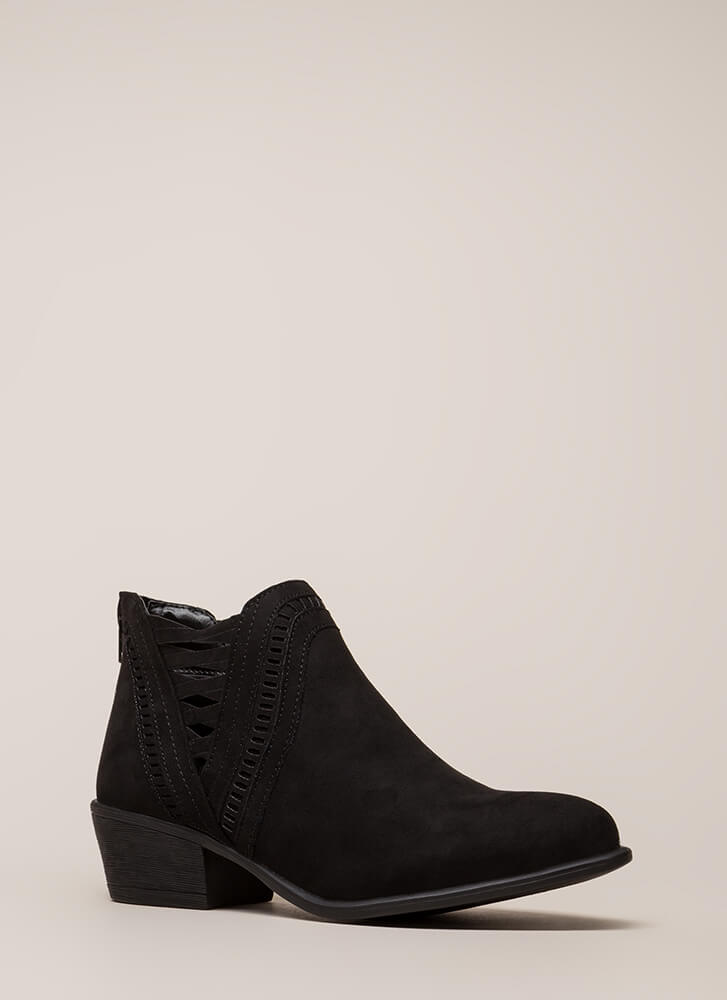 Headed Southwest Cut-Out Booties BLACK