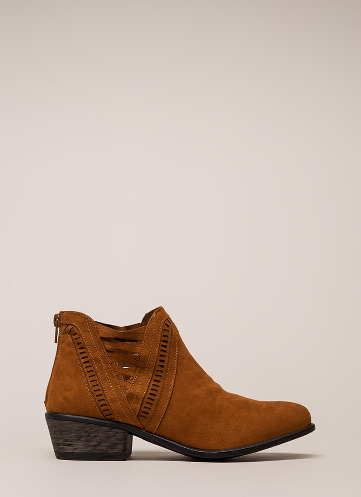 Headed Southwest Cut-Out Booties CHESTNUT