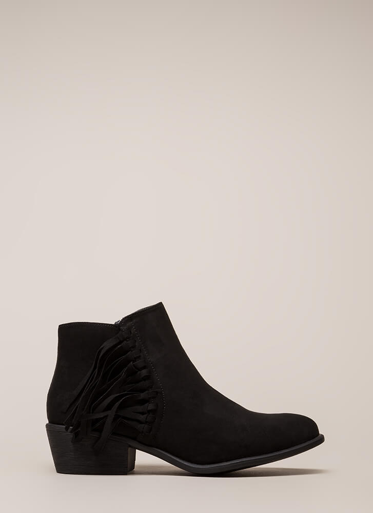 He Loves Me Knot Fringed Booties BLACK