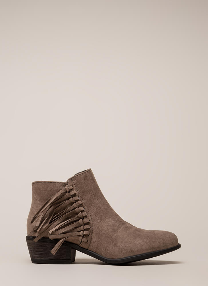 He Loves Me Knot Fringed Booties TAUPE