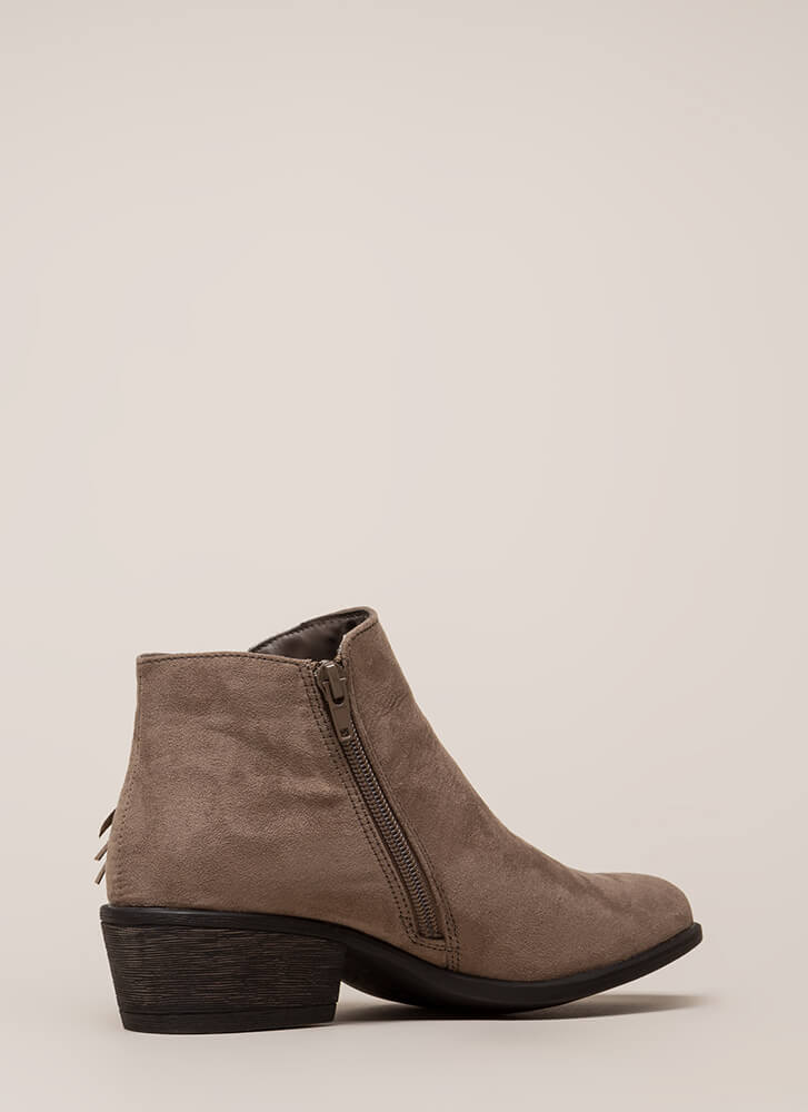 He Loves Me Knot Fringed Booties TAUPE (You Saved $28)