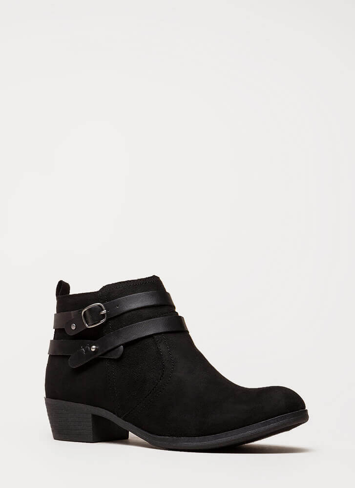 New Fave Strappy Faux Suede Booties BLACK (You Saved $28)