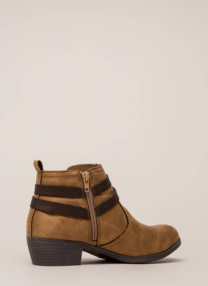 New Fave Strappy Vegan Suede Booties TAN