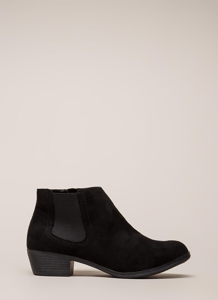 New Favorite Faux Suede Chelsea Booties BLACK