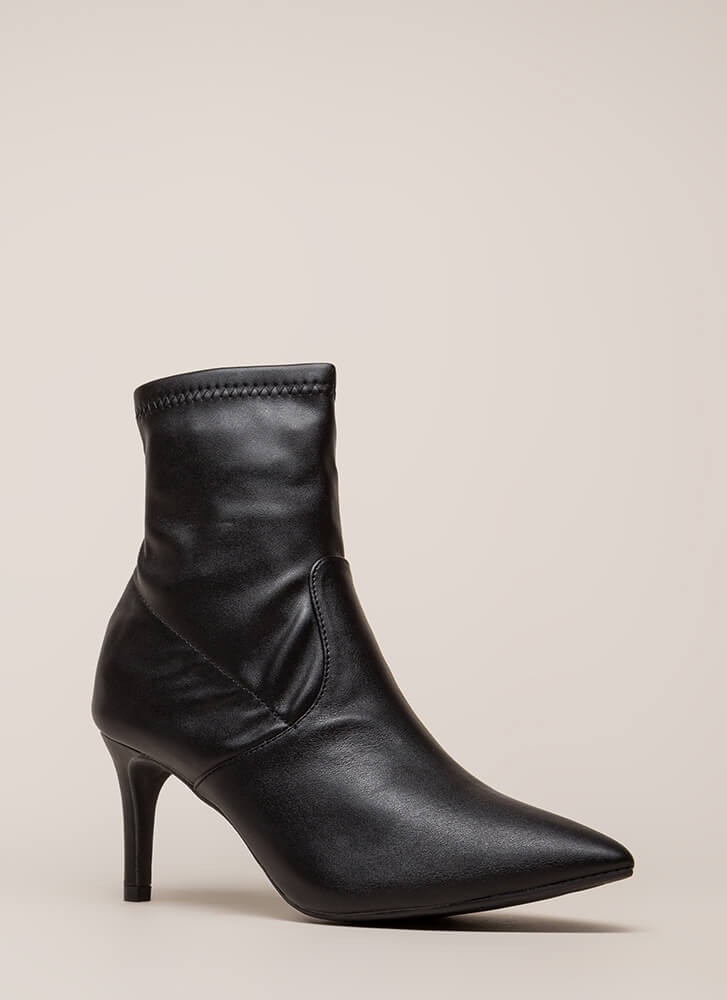 Longing For Faux Leather Sock Booties BLACK