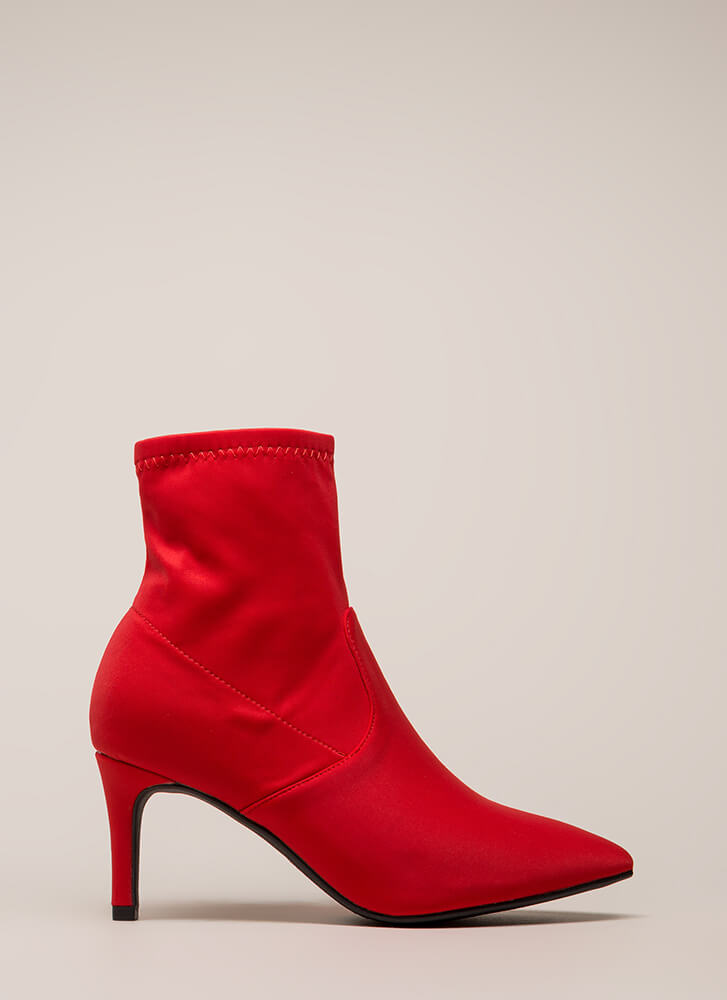 Longing For Lycra Sock Booties RED