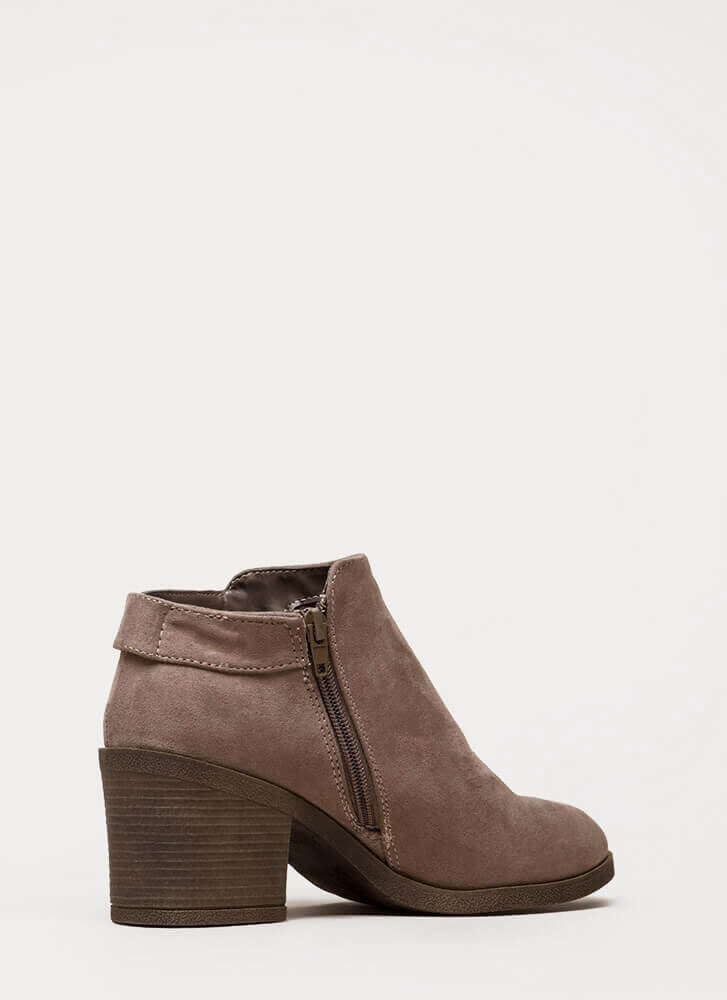 In Detail Strapped Block Heel Booties TAUPE