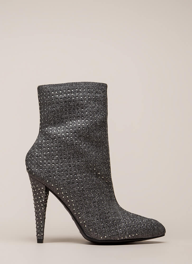 That Wow Factor Rhinestone Booties PEWTER