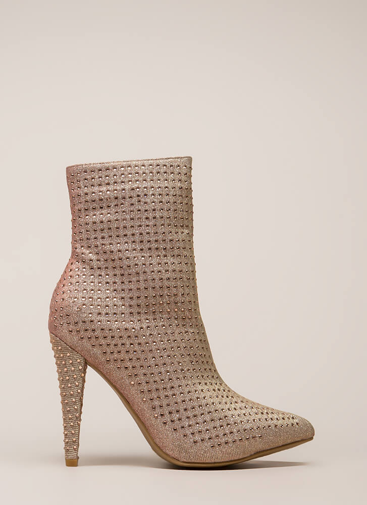 That Wow Factor Rhinestone Booties ROSEGOLD (You Saved $40)