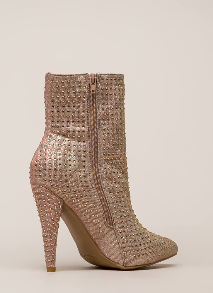 That Wow Factor Rhinestone Booties ROSEGOLD