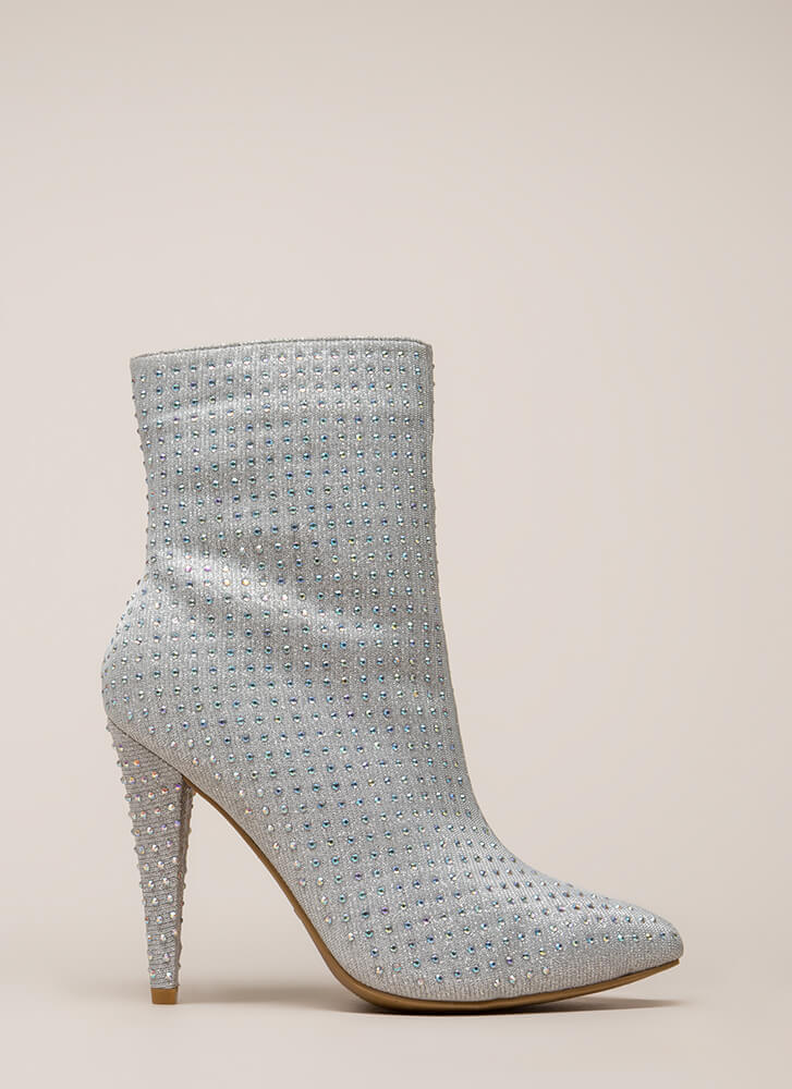 That Wow Factor Rhinestone Booties SILVER