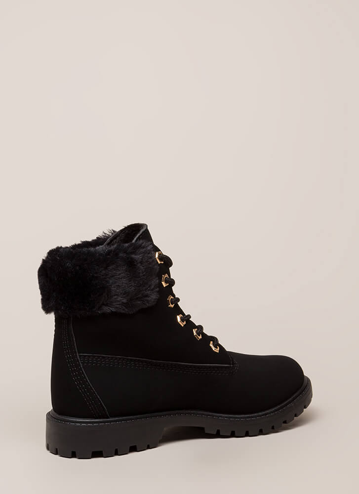 Just Fur You Faux Nubuck Work Boots BLACK