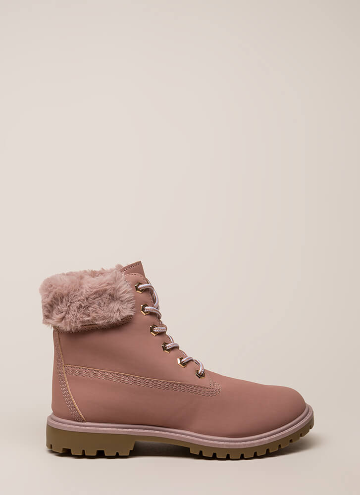 Just Fur You Faux Nubuck Work Boots PINK