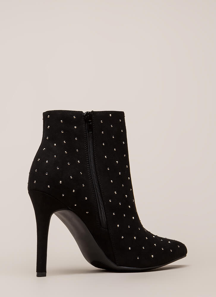 Point Me Toward Rhinestone Booties BLACK