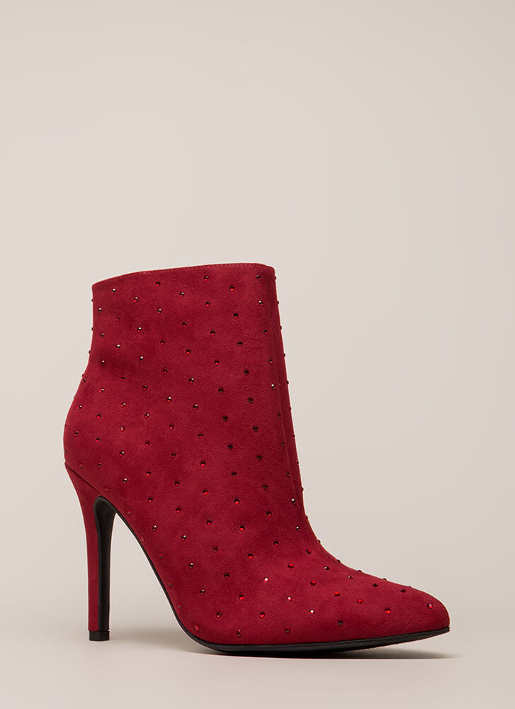 Point Me Toward Rhinestone Booties CRIMSON