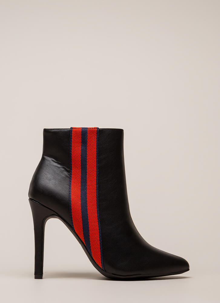 Ribbon Winner Striped Pointy Booties BLACK