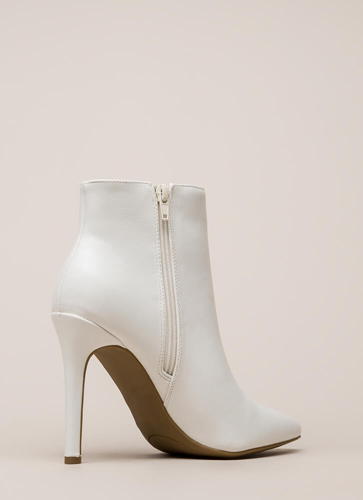 Ribbon Winner Striped Pointy Booties WHITE