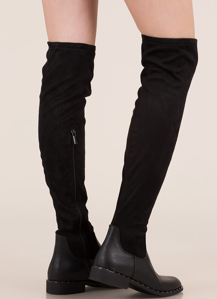 Materials Girl Studded Thigh-High Boots BLACK