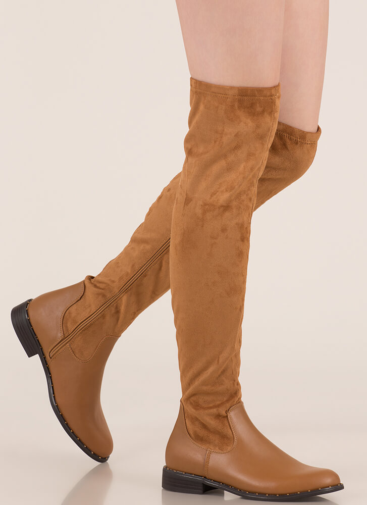 Materials Girl Studded Thigh-High Boots TAN