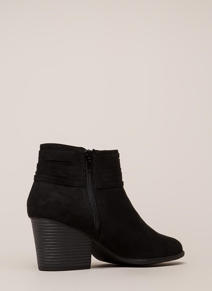 Strappy Days Knotted Block Heel Booties BLACK
