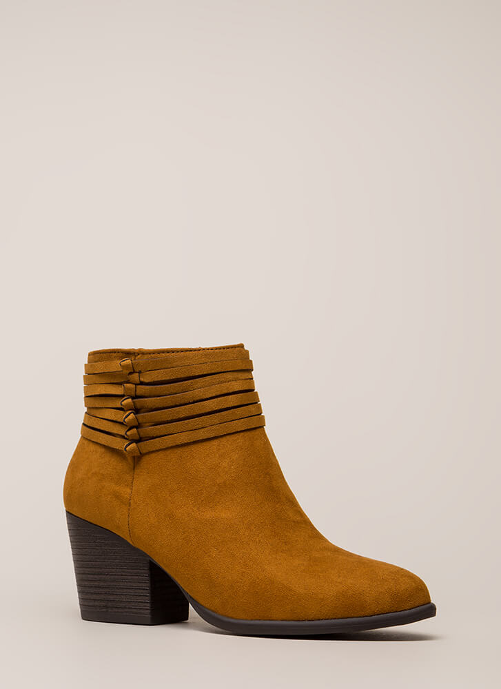 Strappy Days Knotted Block Heel Booties COGNAC