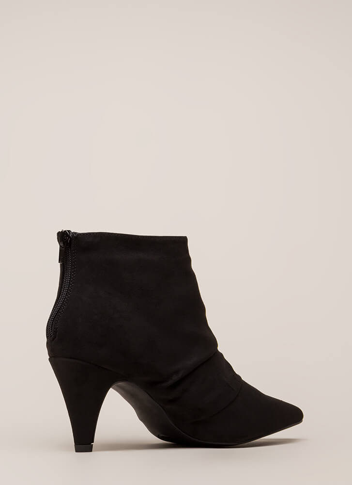Say Pleats Pointy Cone heel Booties BLACK