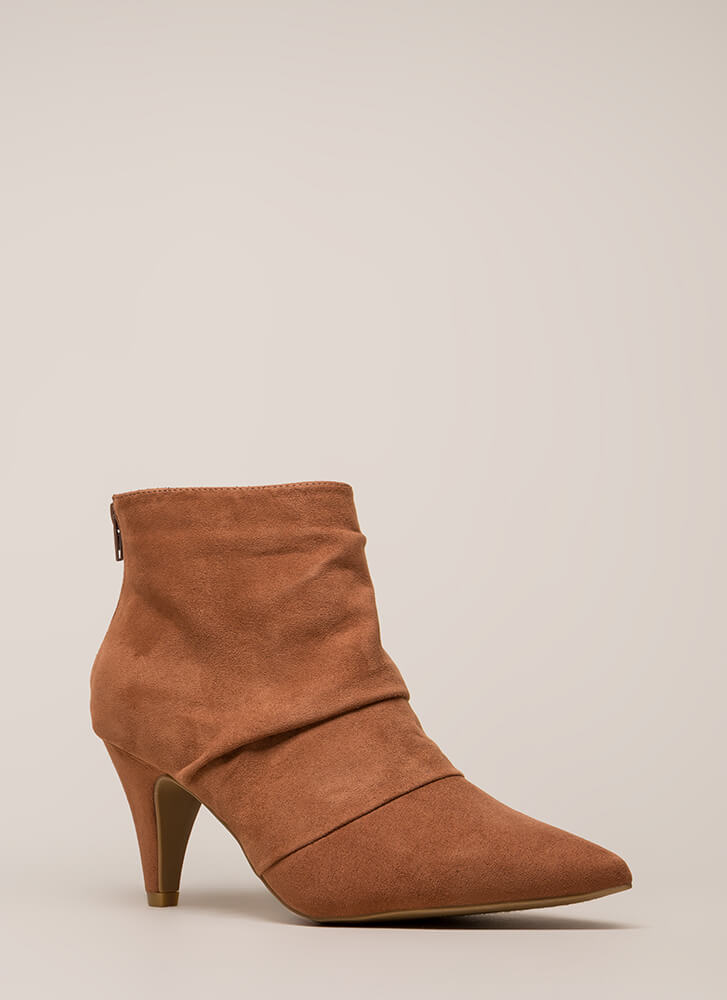 Say Pleats Pointy Cone heel Booties MOCHA