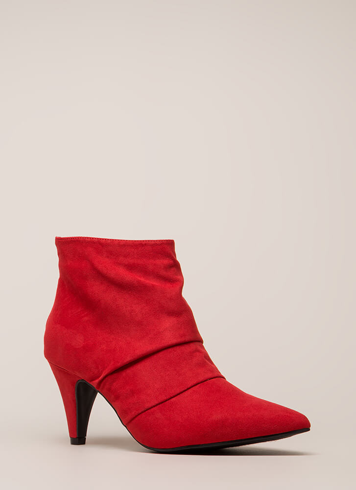 Say Pleats Pointy Cone heel Booties RED