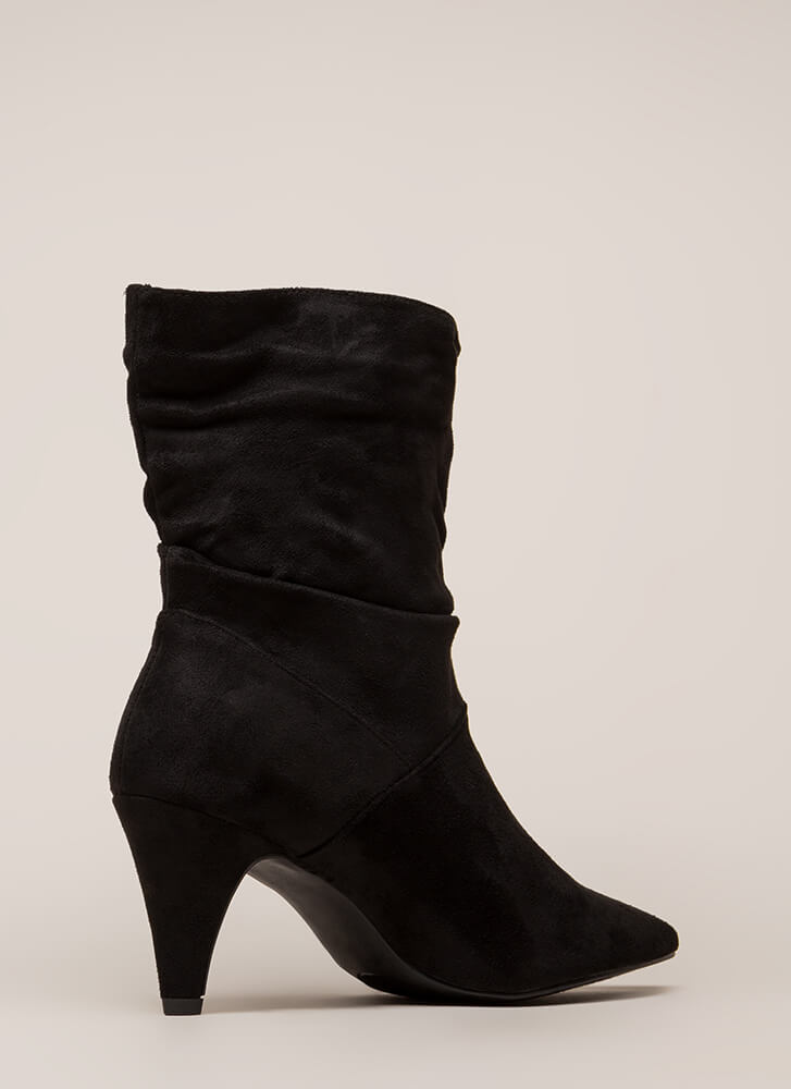 So Refreshing Tall Slouchy Booties BLACK