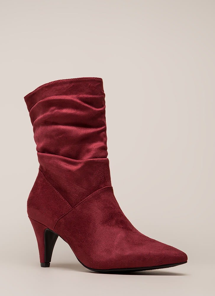 So Refreshing Short Slouchy Boots BURGUNDY (You Saved $28)