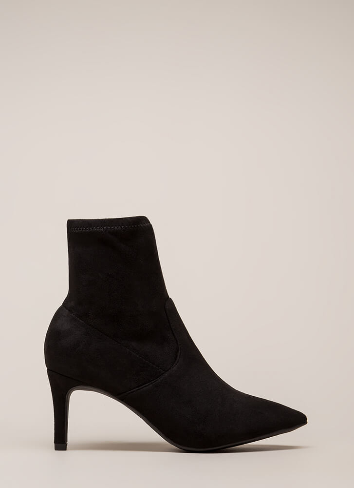 Longing For Vegan Suede Sock Booties BLACK (You Saved $28)