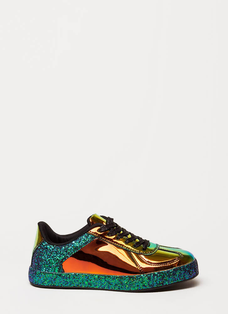 Glitter And Gloss Holographic Sneakers GREEN
