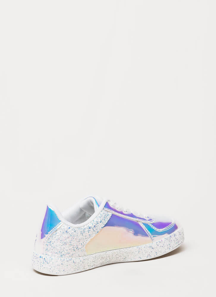 Glitter And Gloss Holographic Sneakers WHITE