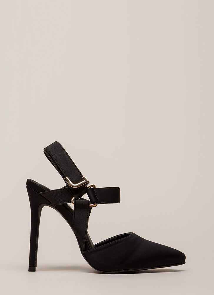 Harness Me In Strappy Pointy Heels BLACK