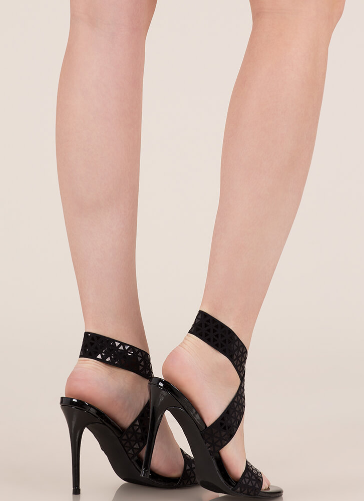 Rock Bands Strappy Geometric Heels BLACK