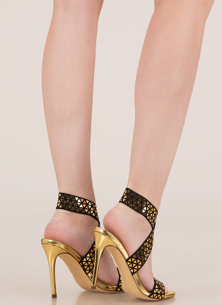 Rock Bands Strappy Geometric Heels GOLD