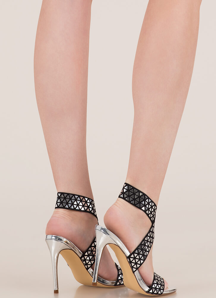 Rock Bands Strappy Geometric Heels SILVER
