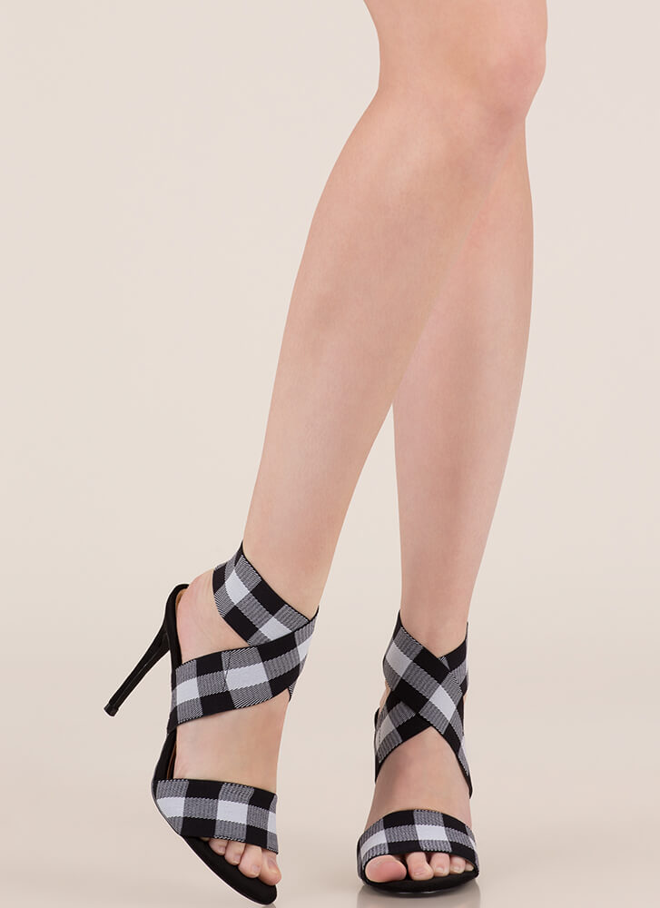 Rock Bands Strappy Buffalo Plaid Heels BLACK