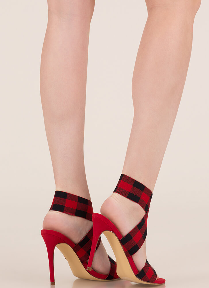 Rock Bands Strappy Buffalo Plaid Heels RED